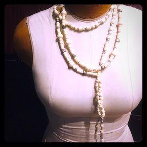 """BOGO Vintage 68"""" ivory, gold, silver necklace/belt"""